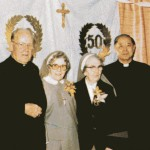 SFX 50th anniv - Fr Lou-Bishop Ken Turner-St Angela-Sr Mary Angela-Bishop Paul Cheng-Fr Francis Chang