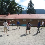 Playing beach volleyball at our Young Adults retreat